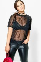 Boohoo Plus Annie Spotty Mesh Shell Top