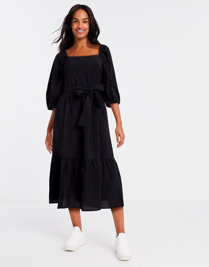 New Look square neck tie waist midi dress in black