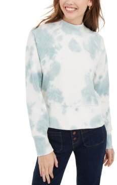 PINK ROSE Juniors' Mock-Neck Tie-Dyed Sweatshirt