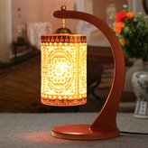 Homap Hand Painted Ceramics Chinese Retro Table Lamp Bedroom Bedside Lamp Living Room Study Lamp Decoration Light
