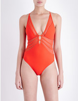 Jets Aspire mesh plunge swimsuit