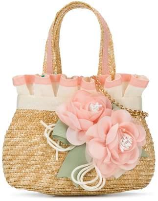 Lula Abel & gathered floral brooch tote bag