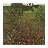 Gustav 1art1 Posters Klimt Poster Art Print - Field Of Poppies (20 x 16 inches)