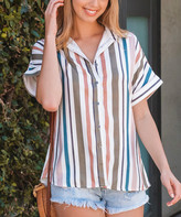 Amaryllis Women's Button Down Shirts OLIVE/BLUSH - Olive & Blush Stripe Short-Sleeve Button-Up - Women