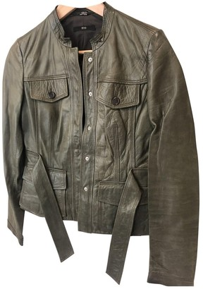 HUGO BOSS Green Leather Leather Jacket for Women