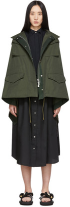 Sacai Khaki and Navy Draped Back Jacket