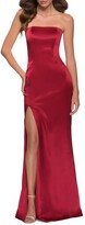 Thumbnail for your product : La Femme Strapless Thigh-Slit Satin Gown