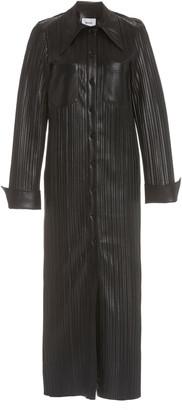 Nanushka Lee Plisse Vegan Leather Maxi Dress