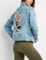 Charlotte Russe Studded Destroyed Denim Jacket