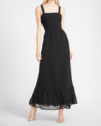 Express Metallic Polka Dot Smocked Bodice Maxi Dress