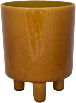 Ivyline - Glazed Ceramic Plant Pot - turquoise - Mustard/Turquoise