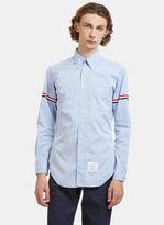 Thom Browne Striped Web Armband Creased Poplin Shirt in Blue