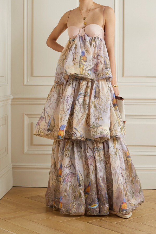 Zimmermann Candescent Tiered Printed Linen And Silk-blend Gown - Purple