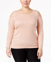 Calvin Klein Plus Size Cold-Shoulder Sweater
