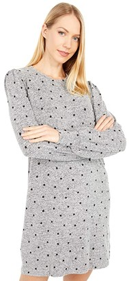 Lucky Brand Cozy Knit Rib Sleeve Dress (Grey Multi) Women's Clothing