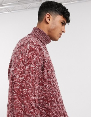 Asos DESIGN oversized cable knit sweater in burgundy twist