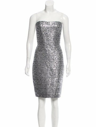 Romona KeveA Romona Keveza Metallic-Accented Silk Dress Silver Romona Keveza Metallic-Accented Silk Dress