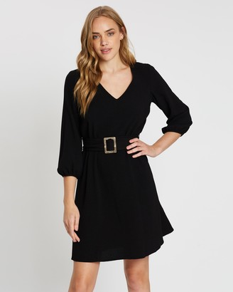 Wallis Buckle Crepe Fit-and-Flare Dress