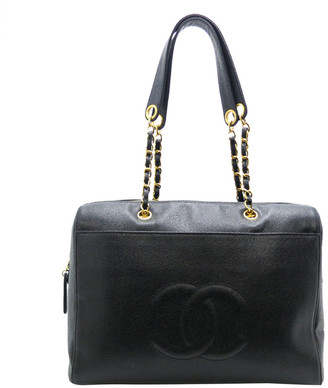Chanel Black Caviar Leather Chain Shoulder Bag