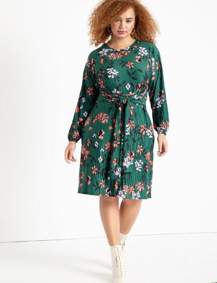 ELOQUII Tie Front Easy Dress