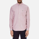 Lacoste Oxford Button Down Pocket Shirt Wine/white