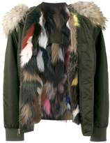Mr & Mrs Italy Multi Coloured fur lined bomber jacket