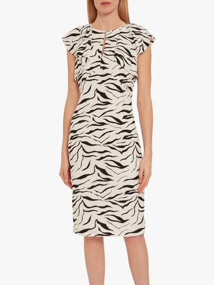 Gina Bacconi Minako Zebra Print Ruffle Cap Sleeve Dress, White/Black