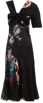Marine Serre Patchwork Floral-lace And Cotton Jersey Midi Dress - Womens - Black Multi