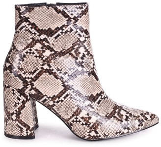 Linzi ALICE - Natural Snake Block Heeled Boot With Pointed Toe