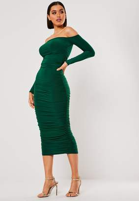 Missguided Petite Dark Green Bardot Slinky Ruched Bodycon Midaxi Dress