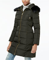 GUESS Faux-Fur-Trim Corset Puffer Coat