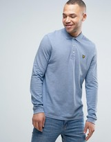 Lyle & Scott Long Sleeve Pique Polo Regular Fit Eagle Logo in Blue Marl