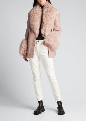 Cinq à Sept Blair Faux-Patent-Leather Coat with Mongolian Fur Trim