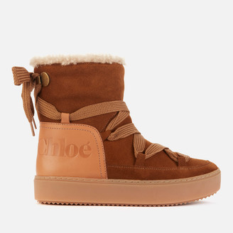 See by Chloe Women's Suede/Leather Snow Boots - Tan