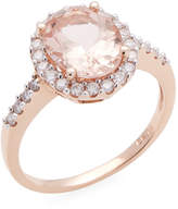 Rina Limor Fine Jewelry Women's 10K Rose Gold Oval Morganite & Diamond Halo Ring