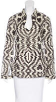 Tory Burch Geometric Print Bead-Accented Tunic