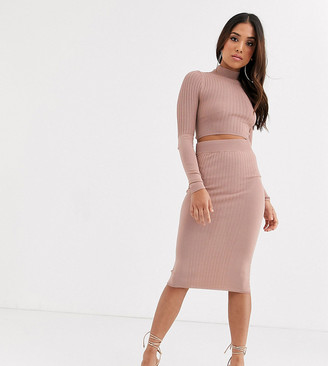ASOS DESIGN Petite two-piece pencil skirt in stuctured rib