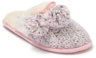 Jessica Simpson Faux Fur Lined Metallic Knit Scuff Slipper