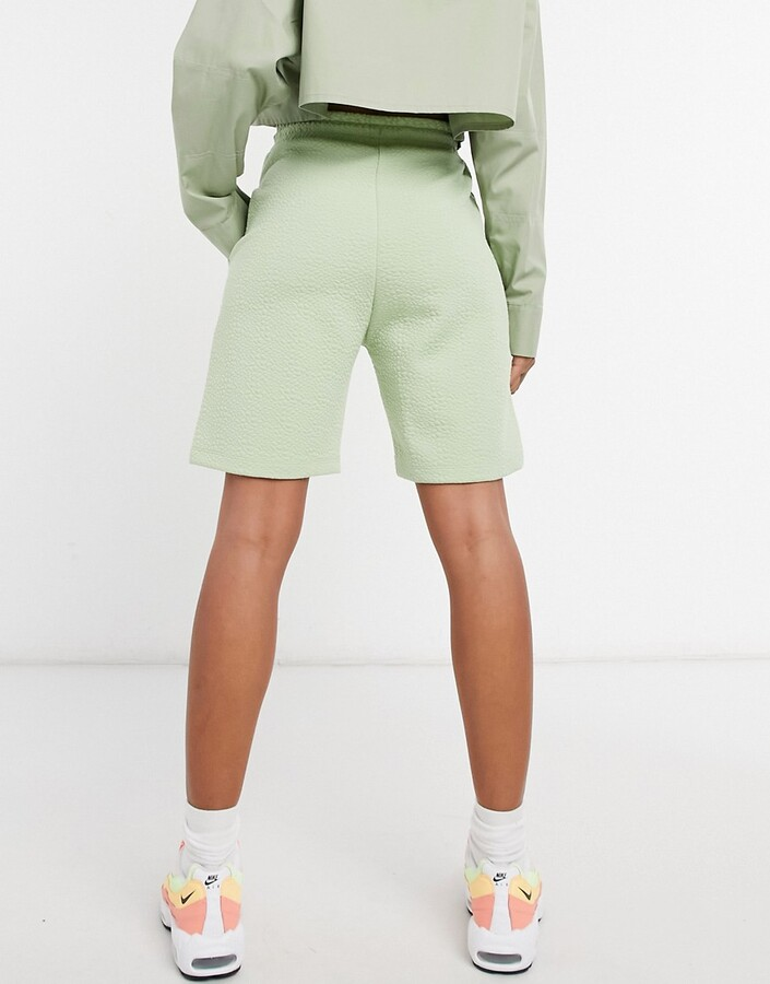 Thumbnail for your product : Collusion textured longline shorts in pale green