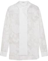 Carven Flocked Organza And Cotton-blend Poplin Shirt - White