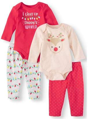 Holiday Time Long Sleeve Bodysuits and Pants, 4pc Outfit Set (Baby Girls)