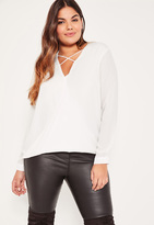 Missguided Plus Size White Harness Detail Blouse