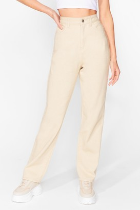 Nasty Gal Womens That Don't Wash With Us Relaxed Jeans - Sand