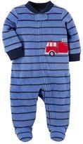 Carter's Baby Boy Striped Fire Truck Microfleece Sleep & Play