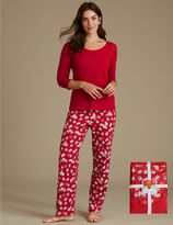 Marks and Spencer Pure Cotton Christmas Print 3/4 Sleeve Pyjamas