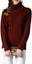 Viottis Women's Cable Knit Turtleneck Long Sleeve Pullover Sweater Wine S