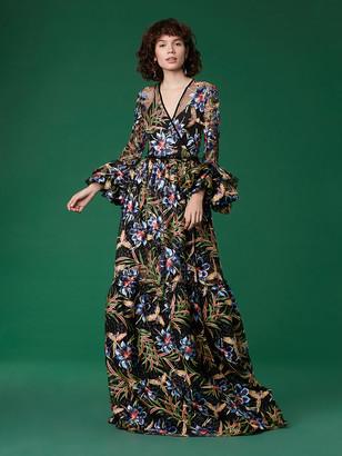Diane von Furstenberg Puff Sleeve Embroidered Maxi Wrap Gown