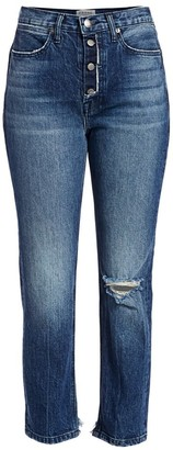 Frame Le Pegged High-Rise Exposed Button Jeans