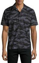 Ovadia & Sons Tiger Camo Short-Sleeve Beach Shirt, Black Pattern