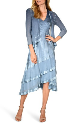 Komarov Beaded Charmeuse & Chiffon Tiered Dress with Jacket